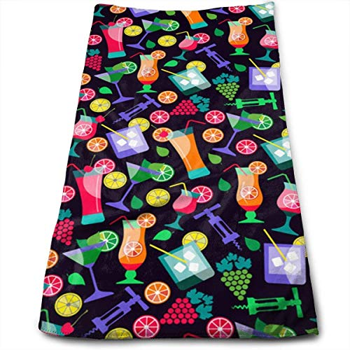 LULUZXOA Summer Drinks and Fruit Super Soft, Machine Washable and Highly Absorbent,Towel(Face Towels,for Home, Gym or Sports), 27.5 X 12 Inch (Soft Machine Drink)