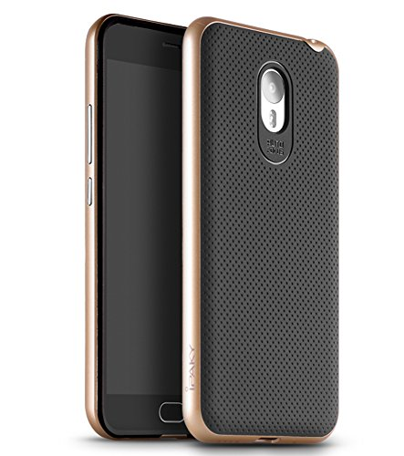 Meizu M2 Note Hülle, Ipaky Premium Handyhülle Hybrid [Ultra Resistent] Flexibler Silikon-Innenkörper [Ultra Dünn] Starrer Außenrahmen PC-Metalleffekt - Gold