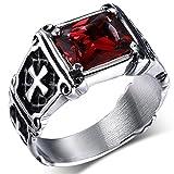 Best Men Rings - MENDINO Stainless Steel Ring Red Ruby Cubic Zirconia Review