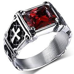 Idea Regalo - MENDINO - Anello in acciaio inossidabile con zircone di cristallo rosso rubino, intarsio vintage con croce celtica, per uomo o donna, con sacchetto di velluto, acciaio inossidabile, 70 (22.3)