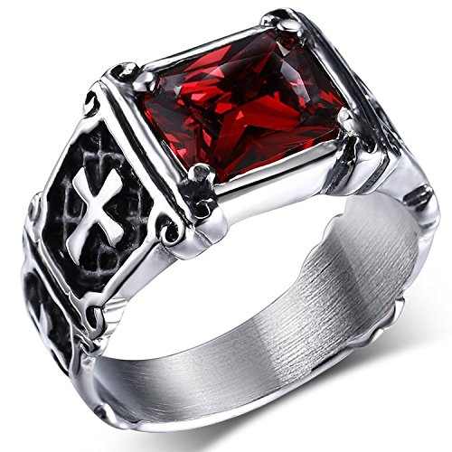 MENDINO Anello acciaio inossidabile con zircone di cristallo rosso rubino intarsio vintage con croce celtica per uomo o donna con sacchetto di velluto