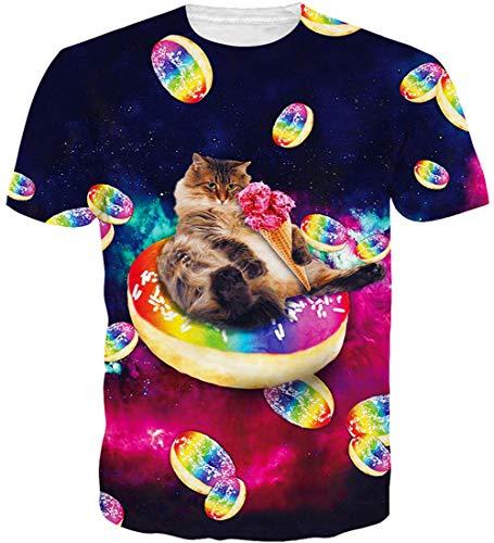 Loveternal Unisex T-Shirt 3D Donut Muster Druck Casual Grafik Sommer Lustiges Kurzarm Tops Tee M