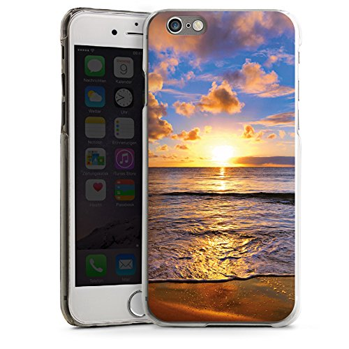 Apple iPhone 4 Housse Étui Silicone Coque Protection Coucher de soleil Mer Nuages CasDur transparent