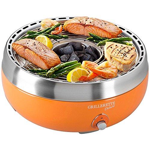 Baltico BBQ rauchfreier Holzkohlegrill mit Umluftgebläse Orange Tischgrill mit Deckel & Aufbwahrungstasche
