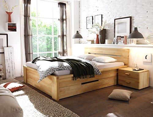 Massivholzbett Caspar + Nachttisch Kernbuche geölt Stauraumbett Holzbett Bett Nachtkonsole Nako Schlafzimmer, Liegefläche:140 x 200 cm;Set-Inhalt:Bett - 9