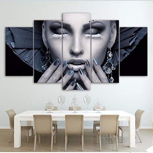 Xzfddn Modulare Bilder 5 Stücke Lip Home Decoration Leinwand Malerei Bestbewertet Charakter Wand Für Wohnzimmer Moderne F 40X60/80/100Cm,No Frame