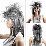 Caltrad 80s Fashion Women's Long Costume Full Wigs Fancy Dress Cosplay Party --- Silver Black