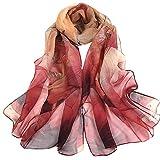 Xmiral Sciarpa Donna,Scarf Donna Foulard Donna Sciarpa di vecchia sciarpa sottile di loto Seta artificiale Taglia unica rosso