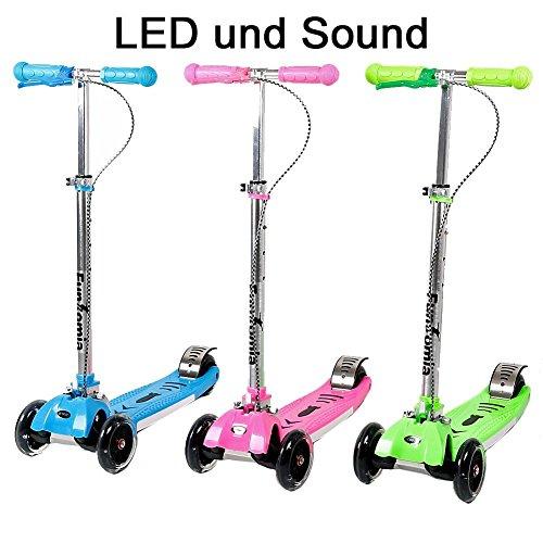 FunTomia LED Kinderroller Scooter Roller Cruiser Kick Jump Cityroller in 3 Farben und klappbar mit LED Licht und Sound (in grün)