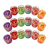 #9: Pack of 18 Smokeless Decorated with Ocean Seashell Small Glass Candles/Tealight/Diya Filled with Jelly& for Party,Festivals,Diwali,Weddings (Small)