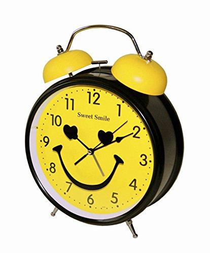 Sweet Smile Großer Nostalgischer XL Retro Glocken Wecker Uhr Glockenwecker Quarzuhr Retrowecker Batteriebetrieben Neu (Gelb) (Rot, Grün, Wecker Gelb,)