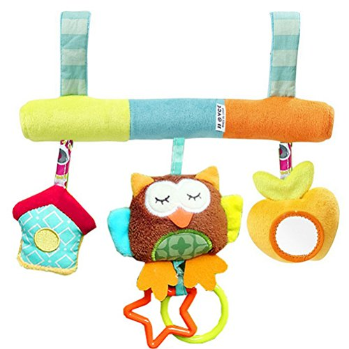 TOYMYTOY Infant Baby Plush Adorable Animal Rattle Stroller Asiento de coche colgante Toy Pram Crib regalo de juguete móvil para niños y niñas (patrón de búho)