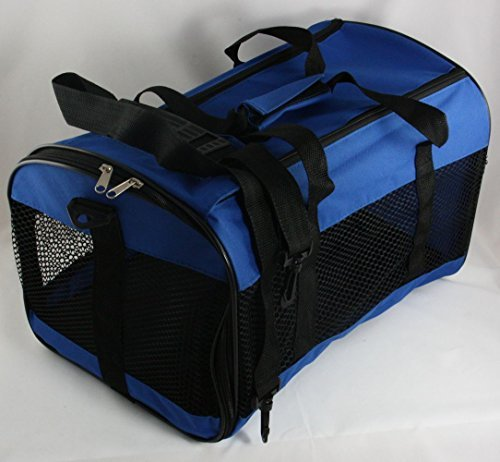 Collapsible-Pet-Carrier-Mesh-Cat-Dog-Carrying-Handle-Red-or-Blue