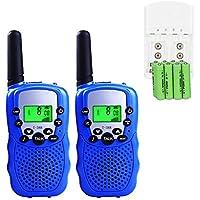 Walkie Talkies Niños PMR446 con 8 Piezas Baterías Recargable y Cargador 8 Canales Función VOX LCD