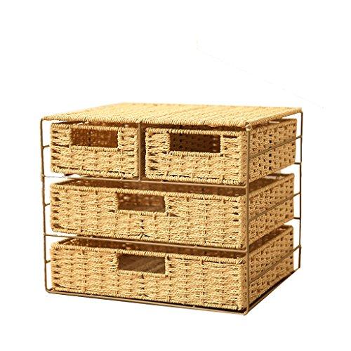 TG Storage Rack Regal Lagerung Finishing Organisation Box Mit Schubladen Papier Seil Handmade Desktop Schlafzimmer 34 * 28 * 28 Cm,Beige -