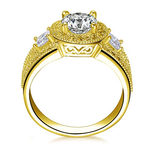 Solide Gelbgold Ehering 14 K Triple Pave Rundschnitt Sona Womens Engagement breites Band Halo Ring,8.5