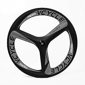 VCYCLE Nopea 700c Tri Ha Parlato di Carbonio Strada Bici Singola Ruota Anteriore Copertoncino 66mm Larghezza 23mm