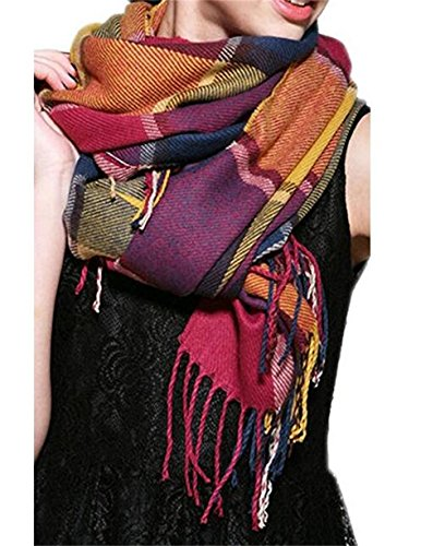 Pacyer® Damen Frauen Wollschal XXL Plaid Oversized Strickschal Kaschmir Winterschal Herbstschal mit Quasten (Lila)