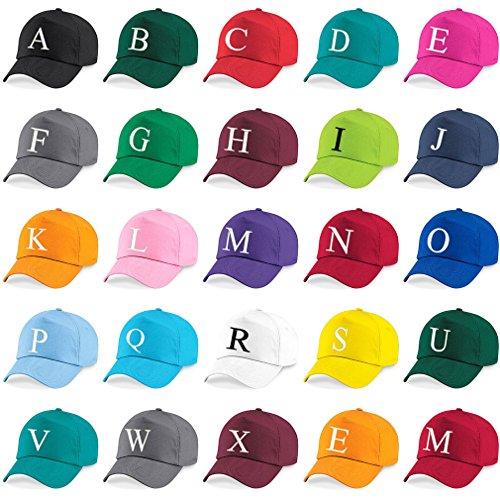 Casquette 4sold Unisexe Broderie Coton Baseball Cap Garçons Filles Hip Hop Flat Hat Bonnet A-Z Alphabet Gris Graphite M