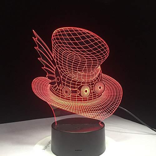 Lampada da tavolo da scrivania con cappello magico a gradiente 3D creativo Lampada da tavolo a led colorata Cap notturna Lampada da notte per bambini Camera da letto per arredamento da comodino