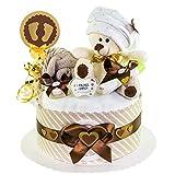 MomsStory - Windeltorte neutral   Teddy Bär   Geschenk zur Geburt, Taufe, Babyshower   1 Stöckig (Braun/Beige)   Babygeschenk für Jungen & Mädchen