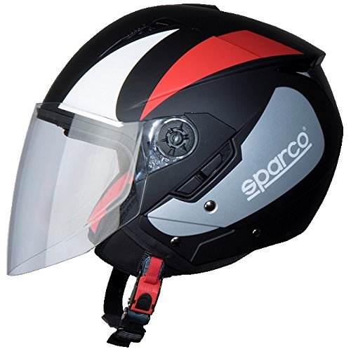 BHR 61705 Casco Moto, Nero/Rosso Opaco, Taglia L
