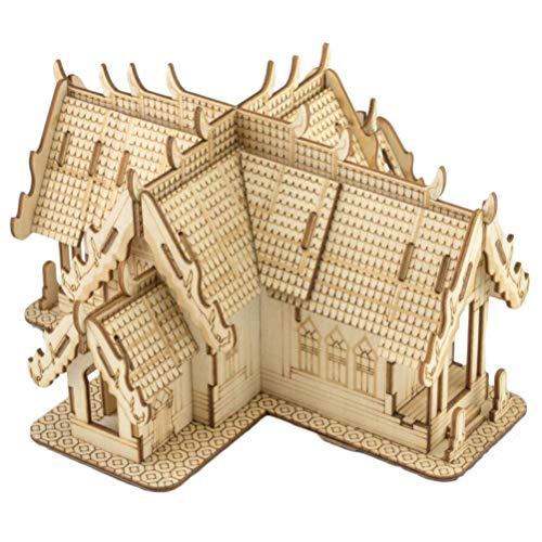 Healifty 3D Thai Stil Holzhaus Puzzle DIY Gebäude Puzzle Modell pädagogisches Puzzle Spielzeug für Kinder Erwachsene