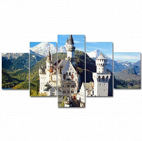 lsscj 5 Stück Wandkunst Bilder Leinwand Poster Ölgemälde Deutschland Schloss Neuschwanstein Architektur für Wohnzimmer gerahmte- (Rahmen) -80 cm (Neuschwanstein Poster Schloss)