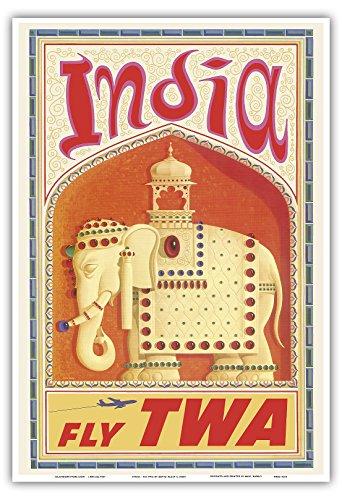 Indien - Flieg TWA (Trans World Airlines) - Geschmückter indischer Elefant mit Sänfte - Vintage Retro Fluggesellschaft Reise Plakat Poster von David Klein c.1960s - Kunstdruck - 33cm x 48cm