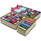 #10: Almand Storage Box/Drawer Organizer with Lid Cover for Innerwear, Clothing, Underwear, Bra, Socks, Tie, Etc. (Set of 4)-Beige