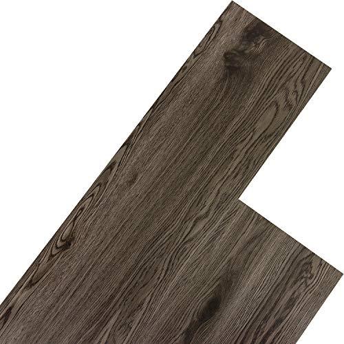 STILISTA Vinyl Laminat Dielen, 15 Dekors wählbar, 5,07m² oder 20m², rutschfest, wasserfest, schwer entflammbar - 20m² Eiche dunkelgrau (Fliese Laminat Boden)