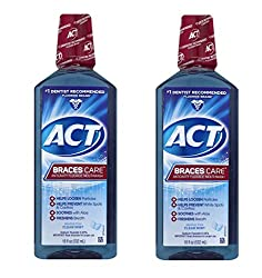 ACT Braces Care Anticavity Fluoride Mouthwash with Xylitol, Clean Mint 18 oz (Pack of 2)