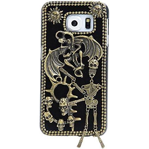 Spritech (TM) 3d personalidad Diablo Calavera Decor Bronze-colored Caver duro caso, Style-2, Samsung Galaxy S6 Edge