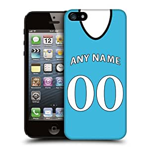 Case Fun Personalised Manchester City Football Shirt, Any Name, Any Number Snap-on Hard Back Case Cover for Apple iPhone 5 / 5S