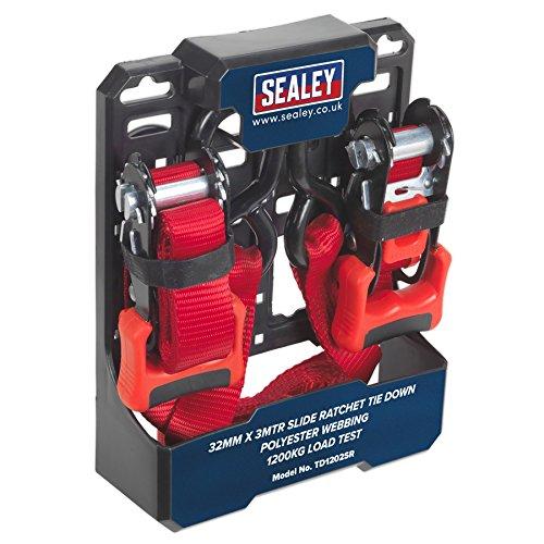 Sealey td1202sr 32mm x 3mtr Slide Spanngurt mit Ratsche Polyester Gurtband 1200kg Tragkraft Test, Mehrfarbig