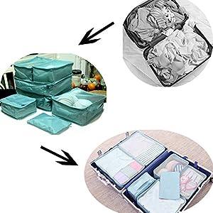 Ewparts 7 Pack de sachets d'emballage de voyage Set, cubes d'emballage Sacs essentiels dans le sac Voyage de stockage imperméable Nylon Drawstring sac sec, pour vêtements Valise Bagages sacs de blanchisserie