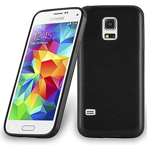 Cadorabo - Etui Housse Gel (silicone) pour Samsung Galaxy S5 MINI Design: METAL BROSSÉ (brushed cover) - Etui Coque Case Cover Bumper en NOIR DE