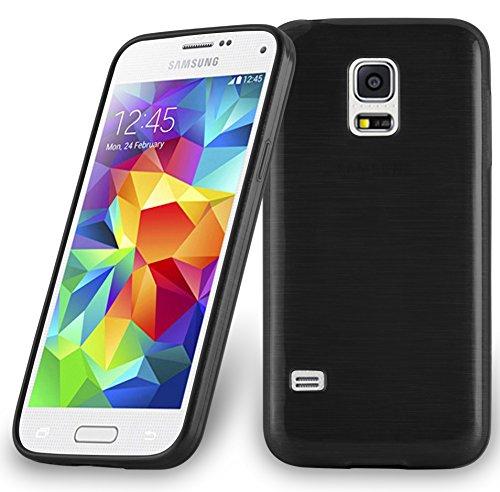 Cadorabo Hülle für Samsung Galaxy S5 Mini / S5 Mini DUOS - Hülle in Schwarz – Handyhülle aus TPU Silikon in gebürsteter Edelstahloptik (Brushed) Silikonhülle Schutzhülle Soft Back Cover Case Bumper