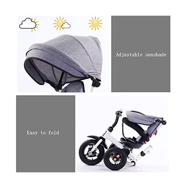 Folding Kids Ride-on Tricycle for Children with Sun Canopy, with 360° Rotating and Reclining Seat (Color : Gray) DUOER-Pushchairs Features assembled canopies without worrying about rain and sunshine,Safety features and safety belts are provided for safety. The pedal can be folded for more convenient use: the pedal can be folded to make travel more convenient. Upgrade the thickened sponge pillow to protect the baby's head and make the baby ride safer. 8