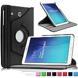 Infiland Samsung Galaxy TAB E 9.6 Funda Case-PU Cuero 360°Rotación Smart Cover Cascara con Soporte para Samsung Galaxy TAB E 9.6 SM-T560 WI-FI 8GB Tablet(Negro)