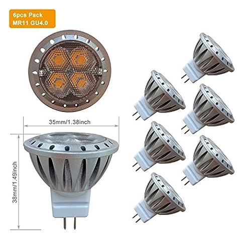 MR11 GU4 LED Warmweiß 12V Ersetzen 35W Halogen Lampe, AlideTech 3W 35mm Led Spot Glühlampen mit GU 4.0 Sockel, 250 LM, Warmweiss 2700K, Abstrahlwinkel 30°, 6er Pack