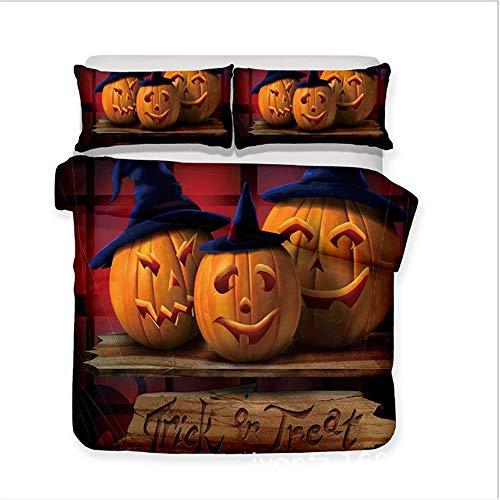 SHJIA 3D Halloween Kürbis Bettwäsche-Sets Bettbezug-Set mit Kissenbezügen Kinder Erwachsene Allerheiligen Geschenk B 180x210cm (Tag Guten Halloween New York)