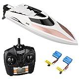 Virhuck 2.4GHz Hochgeschwindigkeits-RC-Boot mit 2x 7.4V 600mAh Batterien, 40KM / H, 180 ° Flipping / Selbstaufrichtend, Ferndistanz 150M, Batterie schwach Alarm, Wasser-Cool & Wind-Cool, Fernbedienung Elektro-Rennboot für Kinder und Erwachsene. (H102)