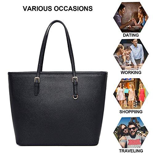VECHOO Borse da donna Borse Tote Borse a spalla Borse da shopping a grande capacità Borse a tracolla di pelle Premium Borse a tracolla moda nero