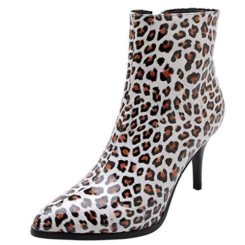 Seringlings Botas para Mujer, Vintage Grueso Tacones Altos talón Botines Zapatos Martin Botas con Tobillo Moda Botas de Leopardo de Charol con Cremallera única Botas Casuales