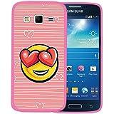 Funda Samsung Galaxy Express 2, WoowCase [ Samsung Galaxy Express 2 ] Funda Silicona Gel Flexible Emoticono Emoji Corazónes Amor, Carcasa Case TPU Silicona - Rosa