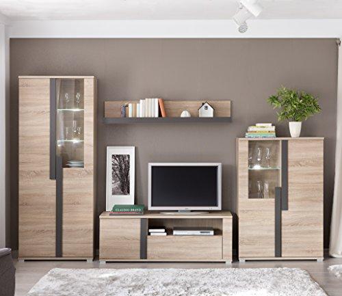 Mueble modular moderno de salón LINK de 320 cm. formado por mueble tv y vitrinas. Color roble.
