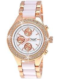 Ny Damenuhren - Reloj de pulsera para mujer, (cronógrafo, con brillantes, C5), color blanco y oro rosa