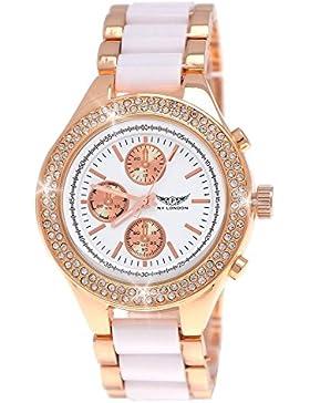 Designer Damenuhr,Damen Strass Uhr,Chronograph Optik,Weiß,Rose Gold,C5