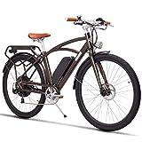 700C Pedal-unterstützendes elektrisches Mountainbike, Retro- Sattel-Stadt-Fahrrad, leistungsfähiger bürstenloser Motor 750W, Lithium-Batterie 48V 13Ah(Braun, 48V 13Ah)